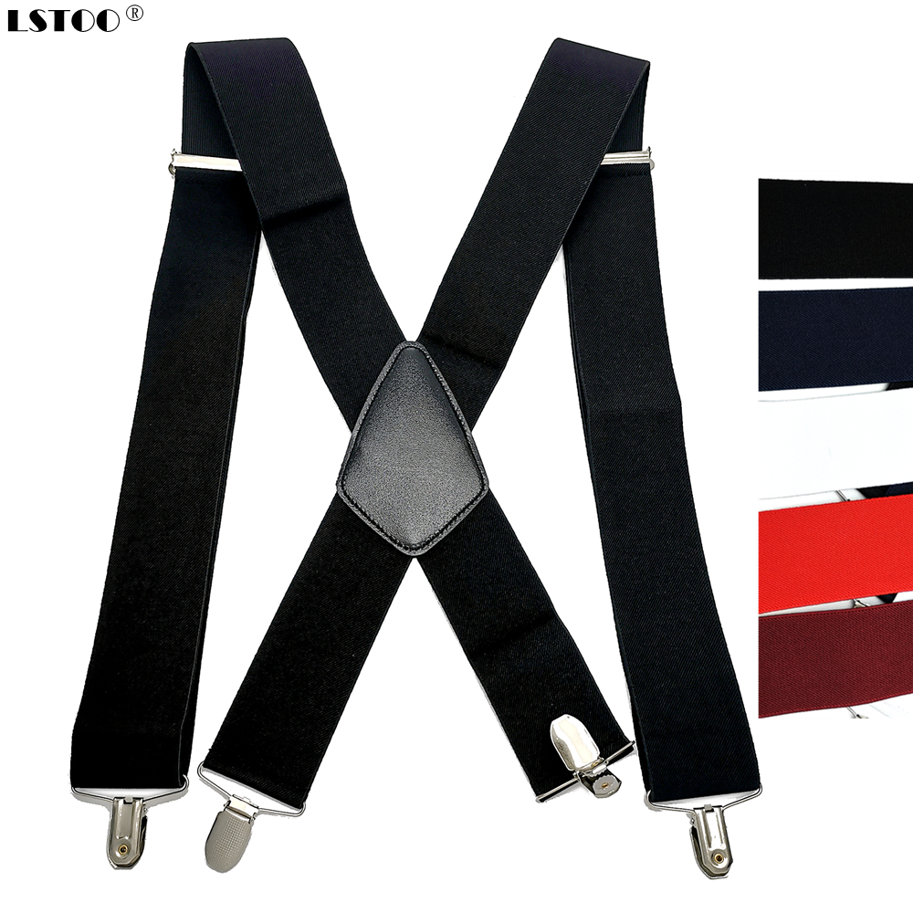 50mm Wide Elastic Adjustable Men Suspenders X Back Suspender Leather Cross 4 Strong Protect Clips Hold Up Pants Worker Braces