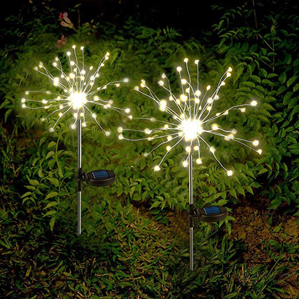 Solar Firework Lights Led Solar Powered String Light With Twinkling And Steady-On 2 Lighting Modes For Garden