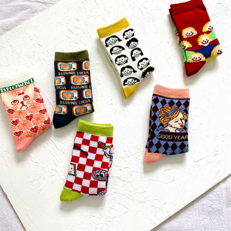 Children Cotton Socks Cartoon Fashion Print Kids Socks Girls Boys Long Happy Socks Geometric Graffiti Designer Funny Footwear