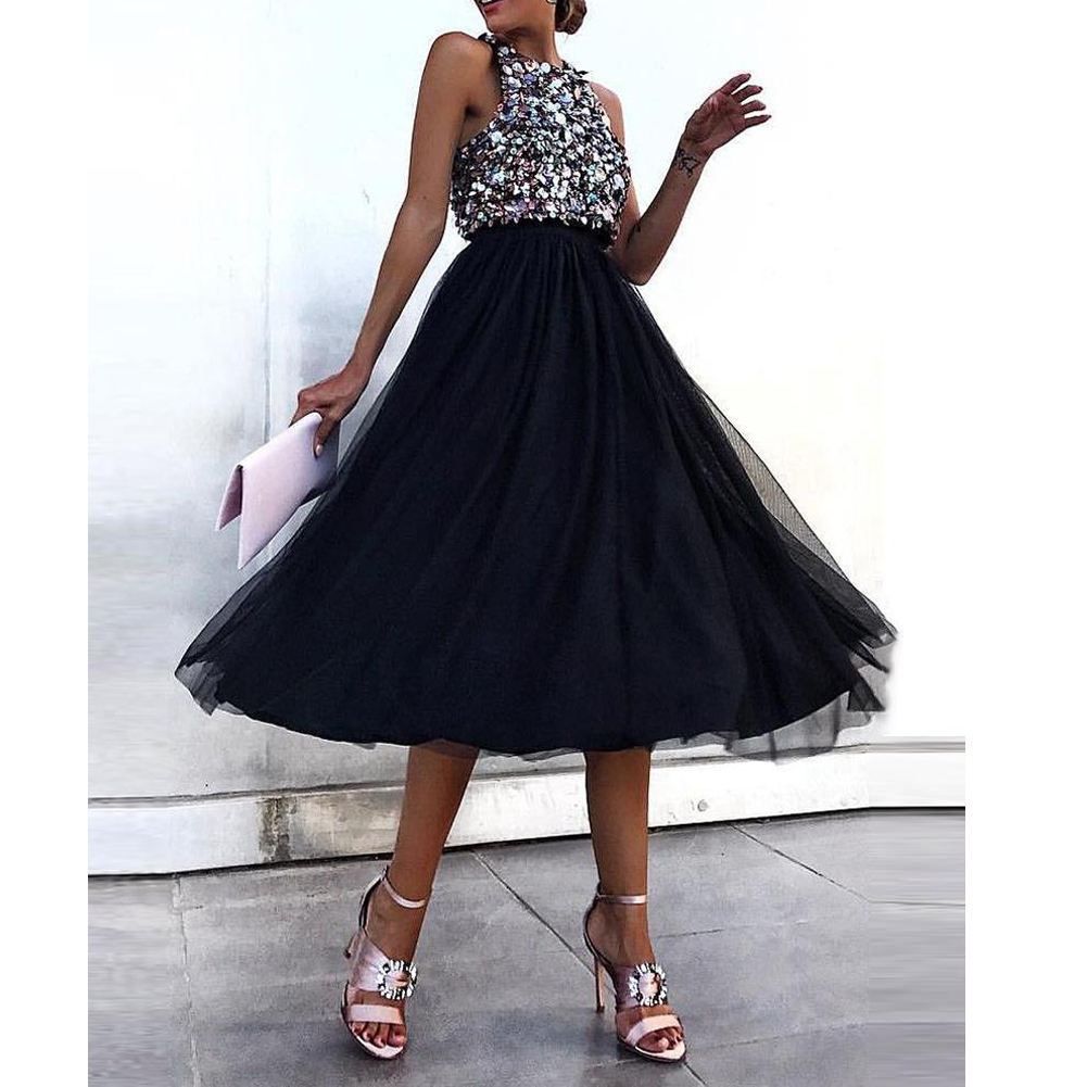 Hot Women Sexy Formal Sleeveless Round Neck Dresses Ladies Fashion  Evening Party Ball Prom Gown Sequins Dress