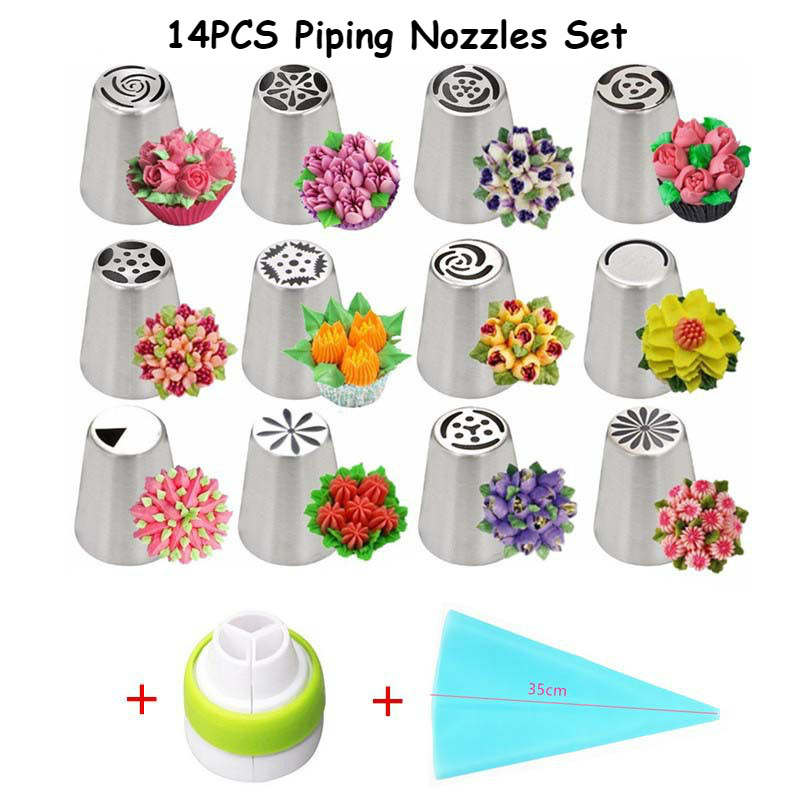 14pcs Cake Decroating Tools Icing Piping Nozzles Coupler Bag Set Pastry Tips Cream Flower Christmas Cupcake DIY
