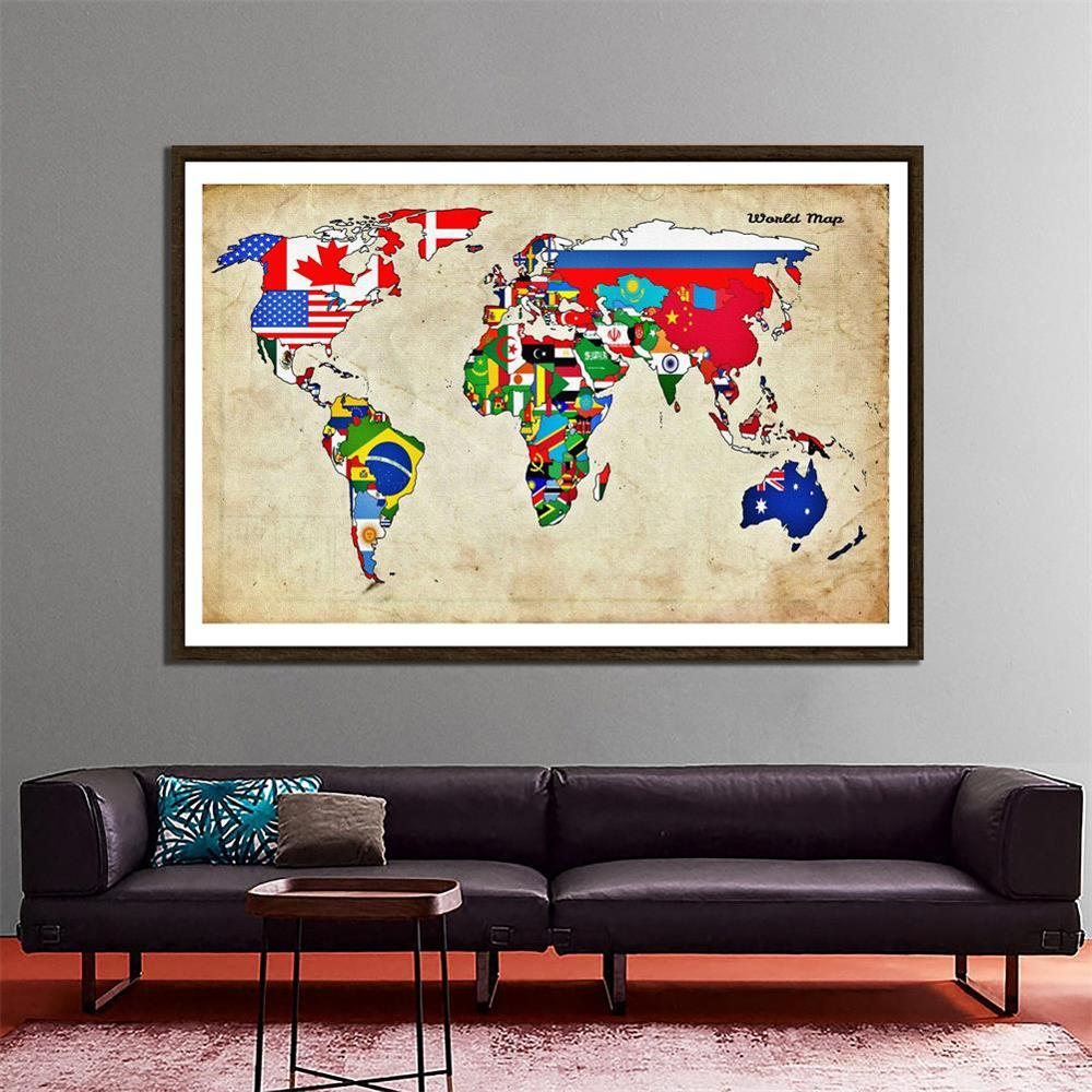 150x225cm Non-woven DIY World Map Made With National Flags Pattern For Wall Decor