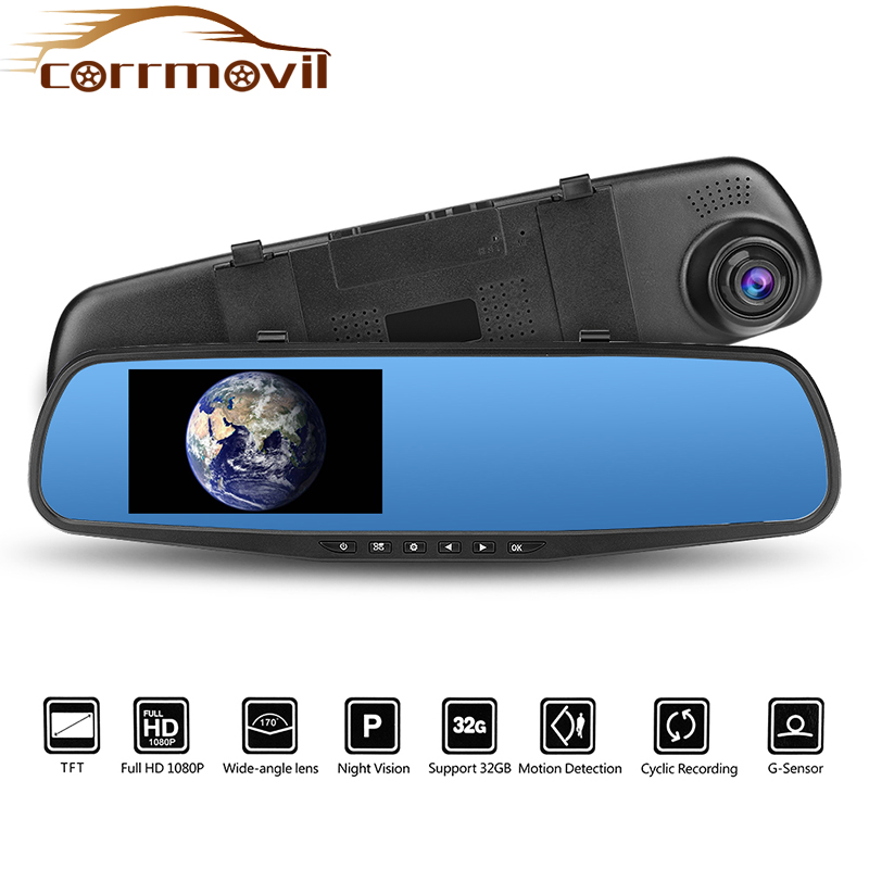 Auto-Dvr Dash-Cam Led-Display Rear-View-Camera Russian-Version Gsensor
