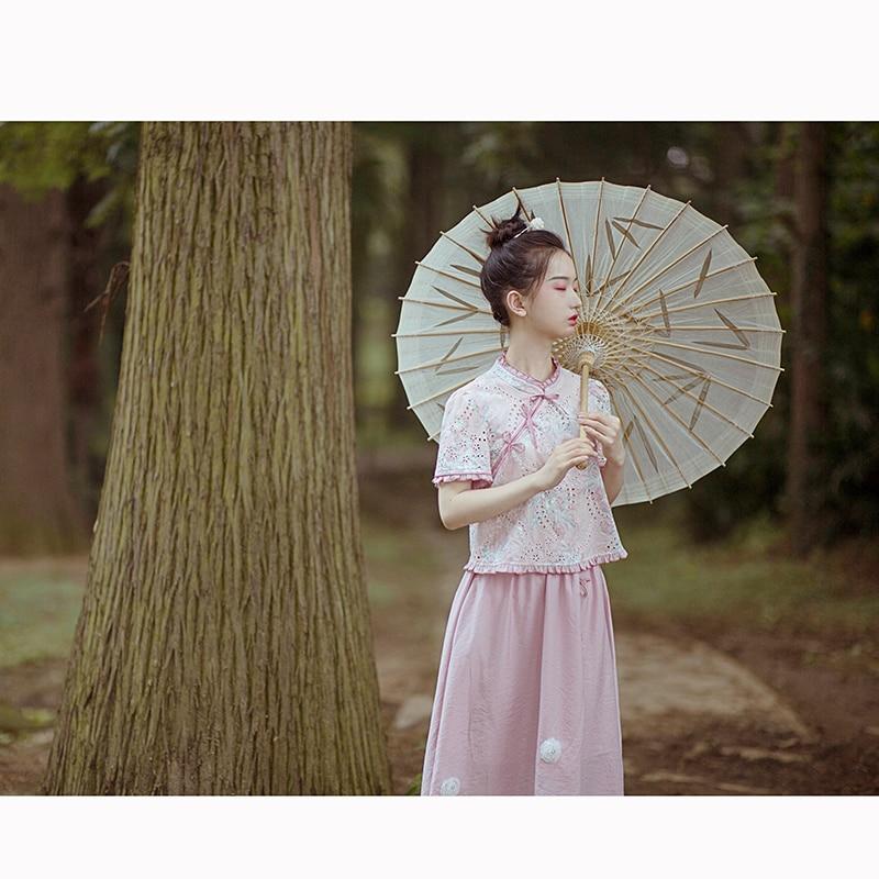 Милые юбки в стиле Лолиты в национальном стиле; юбка с разрезом и высокой талией для лета; удобные и универсальные розовые юбки для женщин; HJS018 - 2