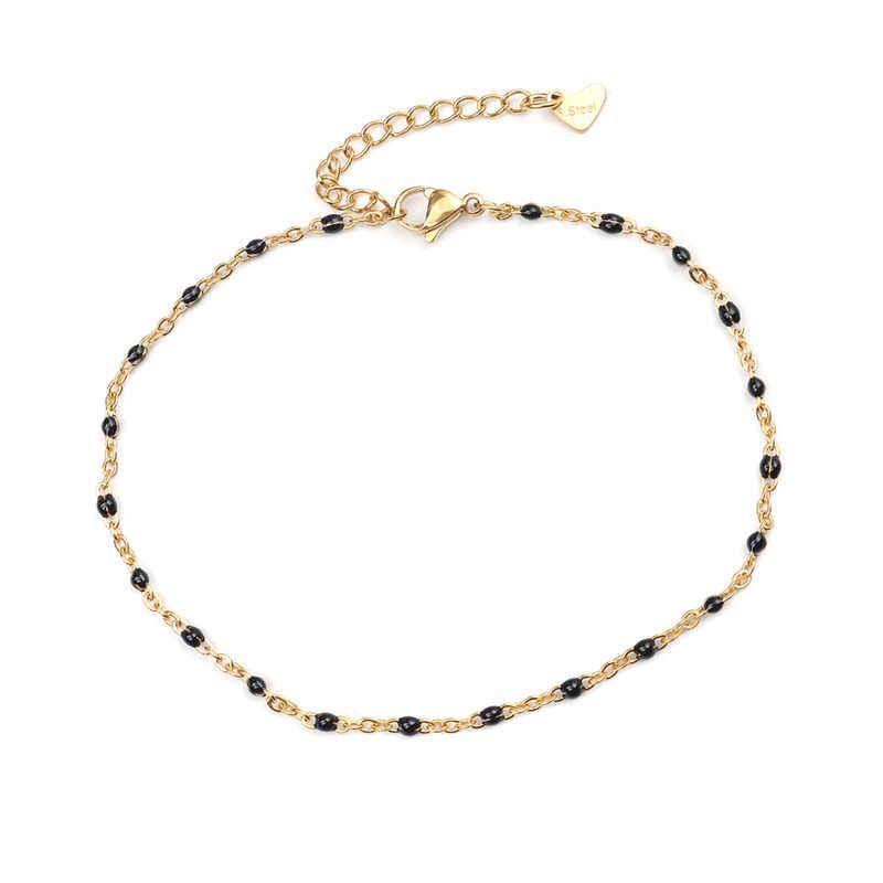 2019 moda Multicolor ze stali nierdzewnej Anklet emalia na stopy bransoletki na kostki kobiety mężczyźni Trendy noga Link Chain biżuteria 23 cm, 1PC