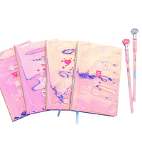 1 pcs Cute fantasy pink laser diary literary small fresh cute blank notebook notepad wholesale