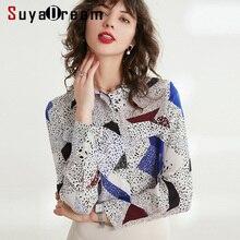 Kobiet jedwabną bluzkę 100% prawdziwy jedwab krepa w klatce piersiowej kieszenie bluzki dla kobiet z długimi rękawami bluzka z nadrukiem 2019 urząd Lady bluzka