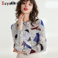 Women Silk Blouse 100% REAL SILK CREPE Chest Pockets Blouses for Women Long Sleeved Print Blouse Shirt 2019 Office Lady Blouse