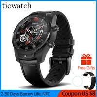 Oryginalny zegarek Bluetooth ticwatch pro IP68 wodoodporny wsparcie płatności NFC/asystent Google Wear OS przez zegarek gps Google