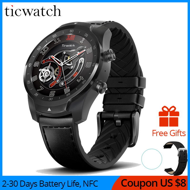 Ticwatch Pro montre intelligente Bluetooth IP68 étanche prise en charge des paiements NFC/Google Assistant usure OS par Google GPS montre