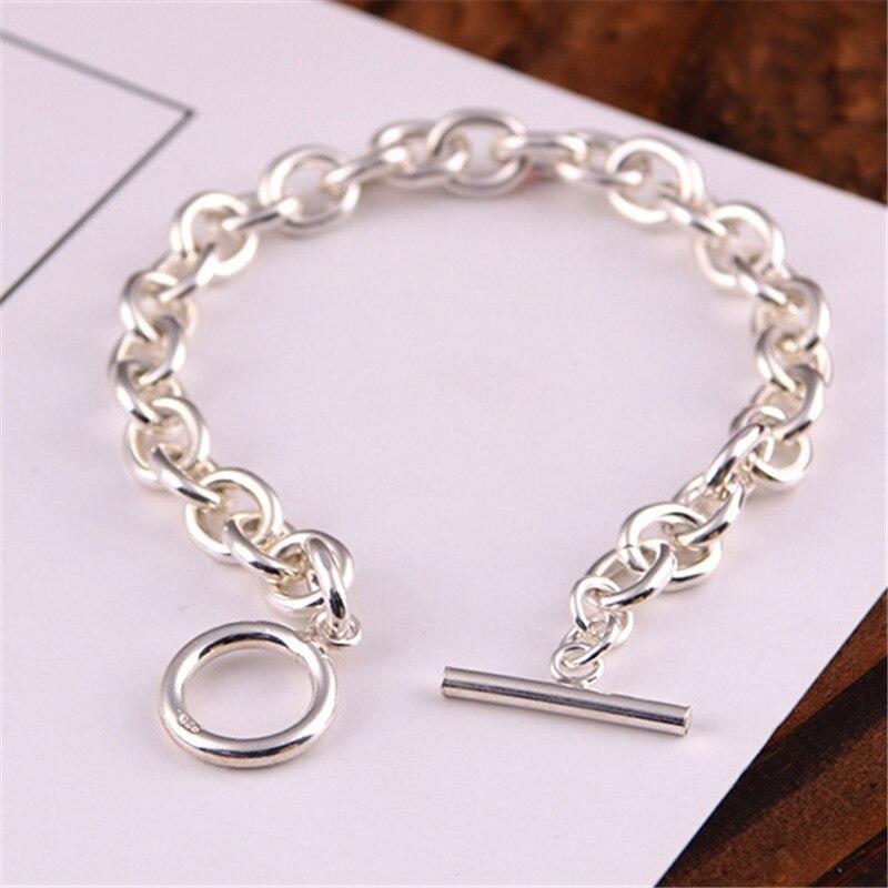 Pur 925 en argent Sterling Simple lien chaîne OT bascule Bracelet pour hommes femmes mode corée Style doux argent 925 bijoux cadeaux