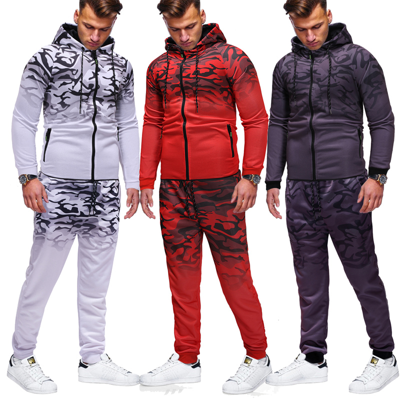 Jogger Men's Fashion Casual Zip-up Sports Suit Men's Sports Suit 2 Men's Sports Suit Printed Hoodie Trousers Fitness Suit