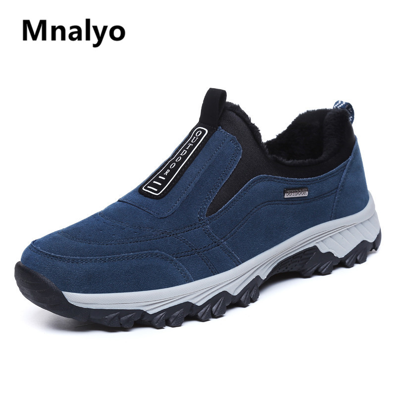 Mnalyo 2019 New Fashion Men Winter Shoes Solid Color Snow Boots Plush Inside Bottom Keep Warm Waterproof Ski Boots Size 39 - 45