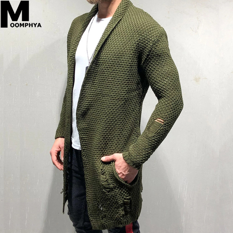 Moomphya Knitted Cardigan Men Long Style Men Sweater Jacket 2019 Streetwear Windbreaker Men Coat Casual Male Winter Sweater Men
