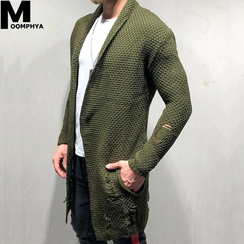 Moomphya Knitted Cardigan Men Long Style Men Sweater Jacket 2019 Streetwear Windbreaker Men Coat Casual Male Winter Sweater Men
