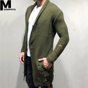 Moomphya Knitted Cardigan Men Long Style