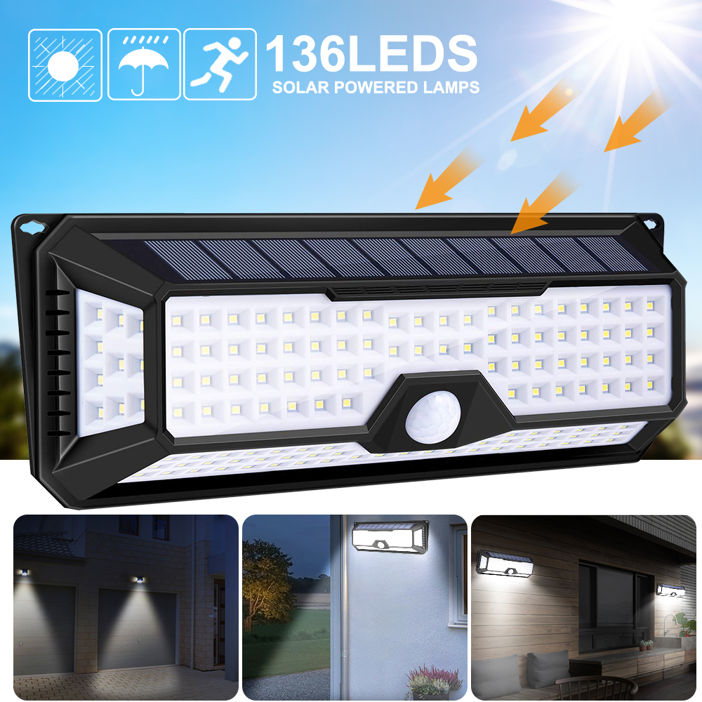 136/92/42 LED Solar Wall Light PIR Motion Sensor Wall Lamp 3 Modes Outdoor Garden Yard Waterproof Energy Saving Pathway Lamp