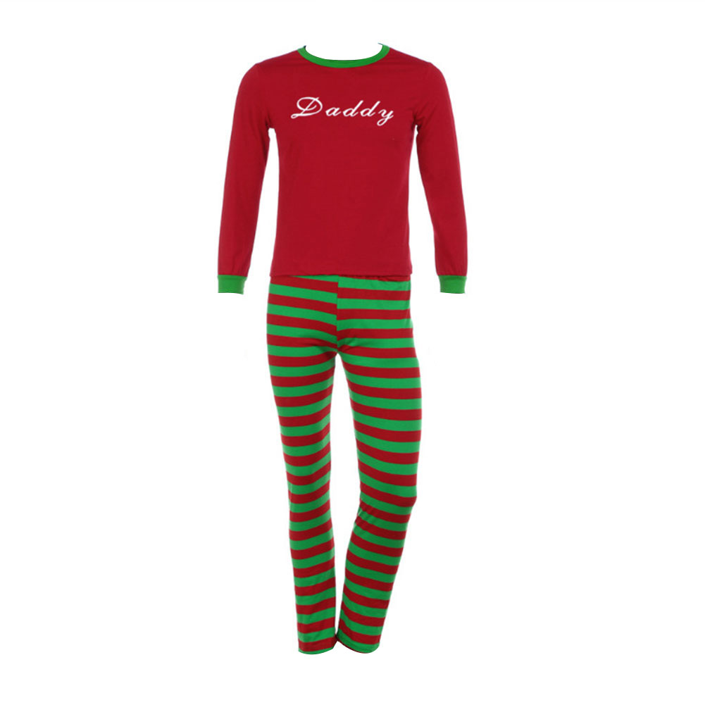 Family Matching Christmas Pajamas Long Sleeve Tops Striped Pants Sleepwear Set Parent-Child Homewear QL Sale