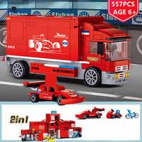 Legoe557Pcs 2 IN 1 Stadt F1 Formel Racing Auto Transport Lkw Auto Bausteine Sets Playmobil Pädagogisches Spielzeug für Kinder