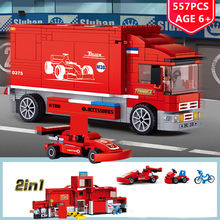 557Pcs 2 IN 1 City F1 Formula Racing Car Transport Truck Building Blocks Sets LegoINGLs Juguetes Playmobil Toys for Children(China)