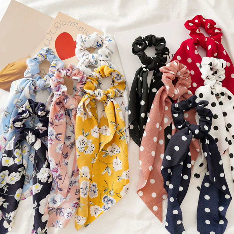 Women Streamers Scrunchies Polka Dot Floral Print Elastic Bow Hair Rope Girl Hair Ties Korean Sweet Hair Accessories Headwear|Women