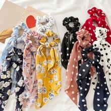 Femmes banderoles chouchous à pois imprimé Floral élastique noeud cheveux corde fille cheveux cravates coréen doux cheveux accessoires chapeaux