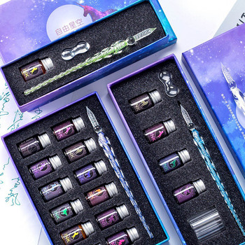 13 7 sztuk szkło kryształowe długopis gwiaździste niebo jednorożec pióro do zanurzania brokat w proszku pióro wieczne 12 kolorów atramentu zestaw podarunkowy pisanie materiałów eksploatacyjnych tanie i dobre opinie CN (pochodzenie) standardowy typ Glass Dip Pen Gift Box 0 5mm Other Iraurita Z innych metali DO PISANIA Crystal Glass Pen