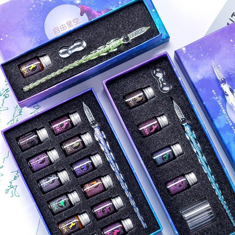 13/7Pcs Crystal Glass Pen Starry Sky Unicorn Dip Pen Glitter Powder Fountain Pen 12 Colors Ink Gift Box Set Writing Supplies
