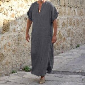 Image 2 - Incerun男性ローブカフタンイスラム教徒アラブイスラムvネック半袖固体cottonthobeヴィンテージ部屋着プラスサイズアラビア男アバヤ
