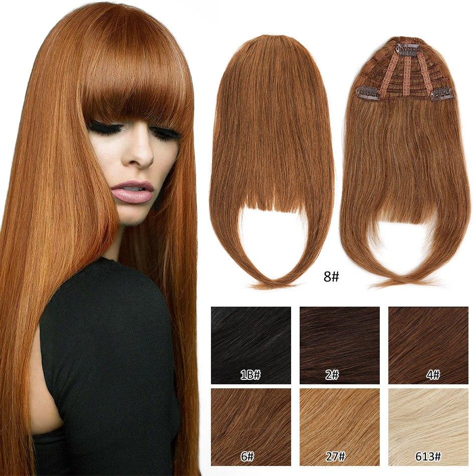 Extensions de cheveux naturels Remy lisses, 3 clips, cheveux humains, franges dégradées, faites Machine, faites Machine