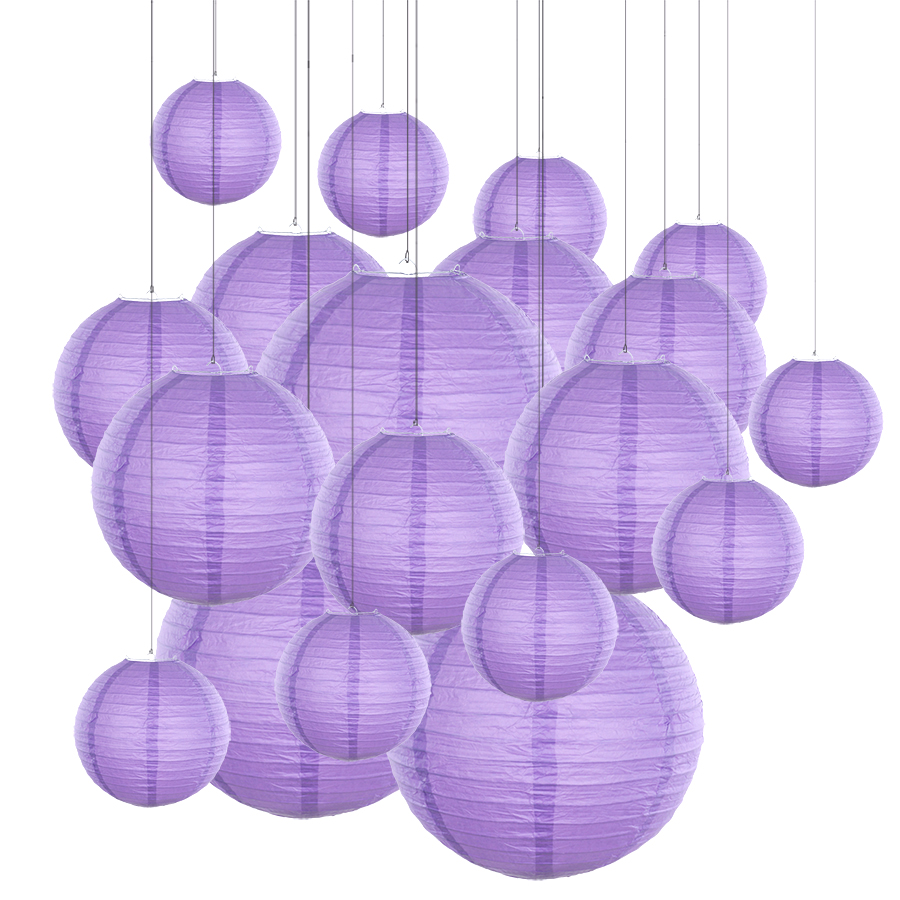 20pcs/Lot 6''-12'' Mix Size Violet Paper Lanterns Chinese Paper Lantern Purple Ball Lampion For Wedding Party Holiday Decoration