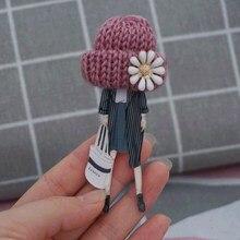Woman fashion brooch cute badges on backpack kawaii Acrylic Brooches Pin with wool ball  hat pin badge Broĉo