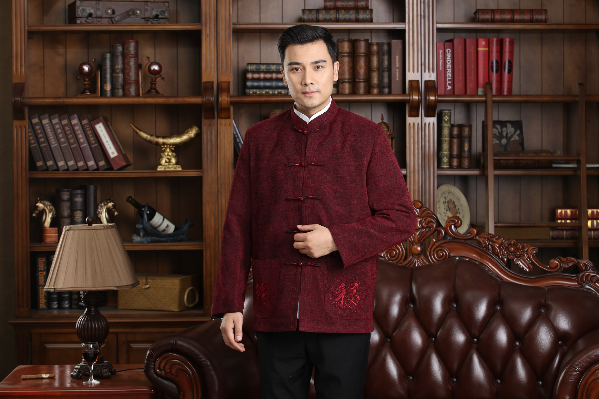 Chinese-style Chinese Style Coarse Cloth Chinese Costume MEN'S Short Sleeved Tops 2722-1 Middle-aged/Have Set