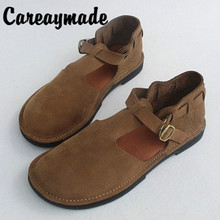 Careaymade-Inside and Outside Full Leather Retro Literature Art Sandals,Head Layer Cowskin Handmade Single Shoes