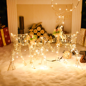 Christmas Decoration Cute Little Deer with Lights Christmas and New Year Cottage Atmosphere Christmas Decorations House