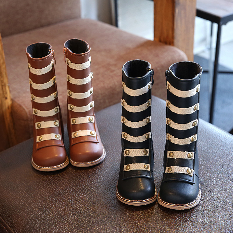 Kid Shoes Boot Girls Children Martin Boots Boy&girl Fashion Rivet Knee-high Boots Soft Non-slip Rubber Sole Boots 4-12 Years Old