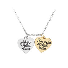 Sisters Big Little Sister Double Heart Necklace Letter Lettering fine Pendant For Dear birthday Gift