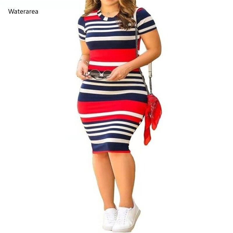 Женское облегающее Платье До Колена, Клубное платье с круглым вырезом и коротким рукавом, в полоску, лето 2019