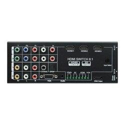Multi-funcional convertidor Digital HDMI YPbPr AV VGA HDMI 8 Port 1 salida HDMI 1080P de conmutación de vídeo HDMI Switcher (enchufe de la UE