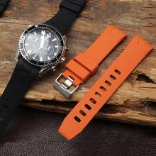 20mm Curved End Rubber Watch Strap for Omega Seamaster 300m Waterproof Diver Commander 007 Black Blue Watchbands Belt Bracelets