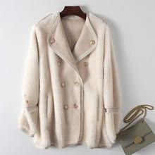 Abrigo de piel Real Natural para mujer, chaqueta Vintage de oveja vaporosa de cuero genuino, chaquetas coreanas de lana de 100% con doble cara 20201205
