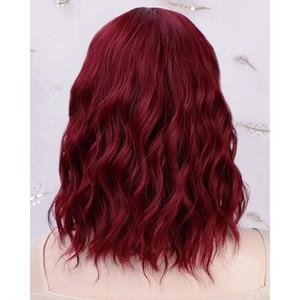 Image 5 - HAIRJOY peluca sintética para mujer postizo de pelo degradado, marrón, de longitud media, con flequillo, resistente al calor, 6 colores, Envío Gratis
