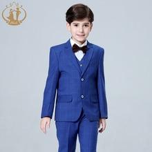 2021 New 3PCS Kids Plaid Wedding Blazer Suit for Christening Boy Formal Wedding Suit Fato Menino Casamento Costume Boys Tuxedo