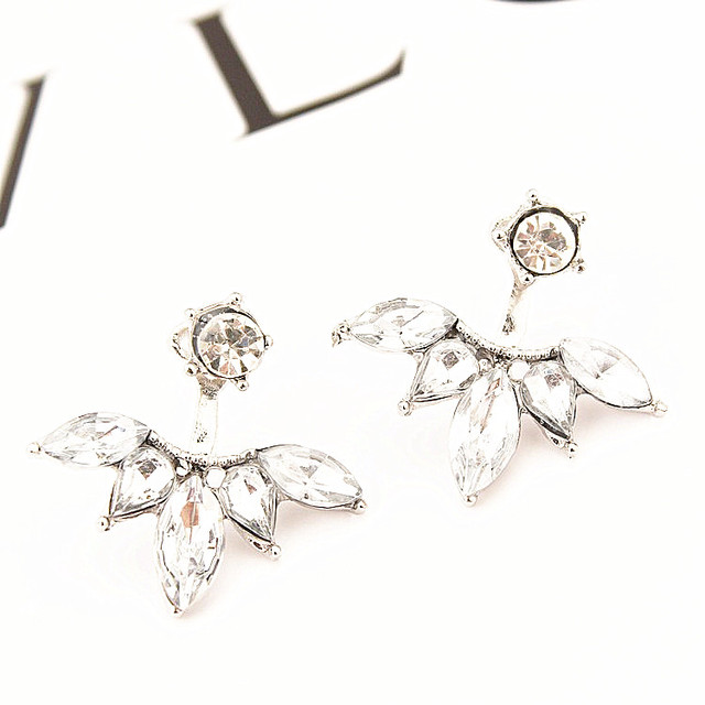1Pair of Touch the Soul Gold and Silver Plated Leave Crystal Drop Dangle Earrings Fashion Statement Jewelry Earrings for Women