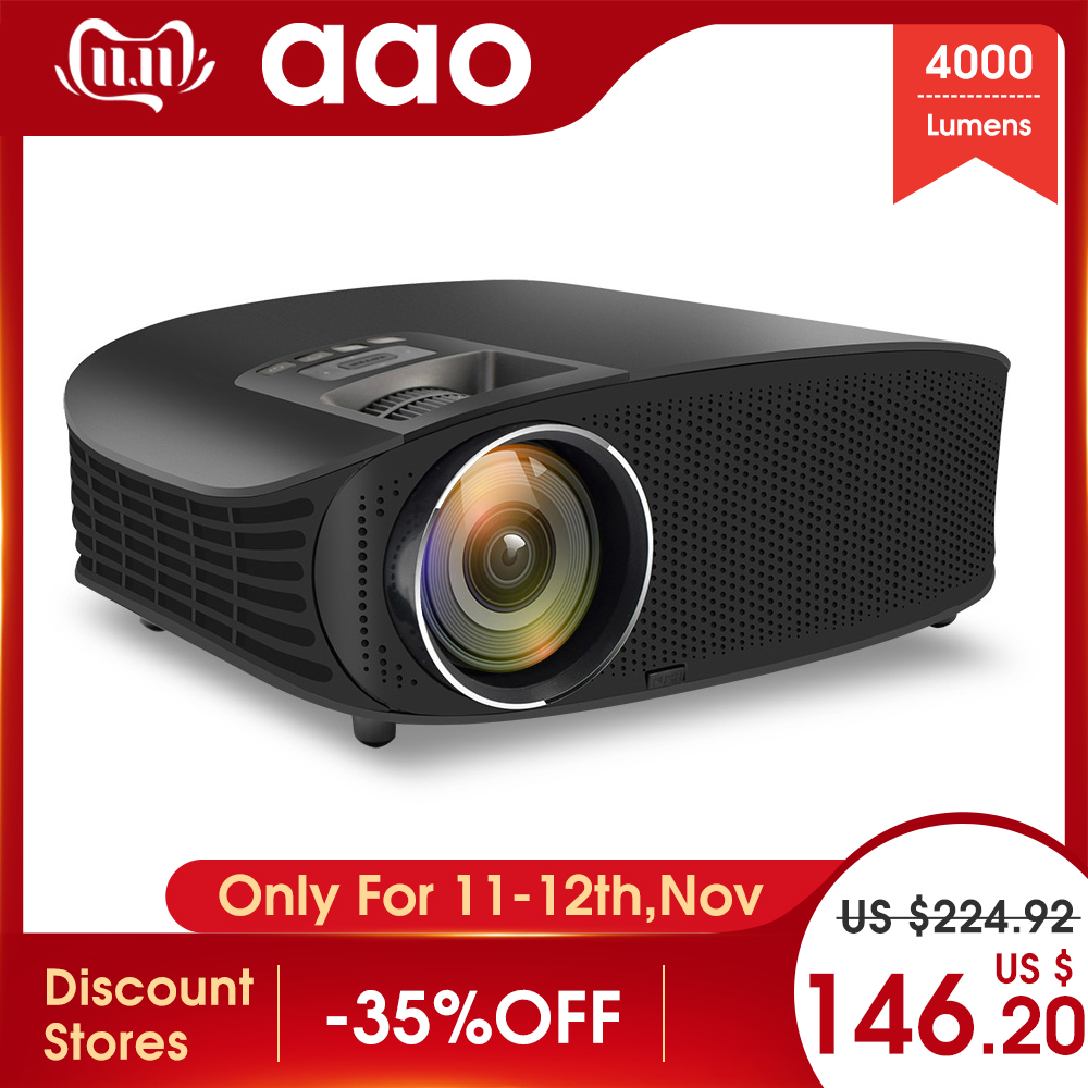 AAO YG600 HD Projector 4000 Lumens LCD Beamer Support Full HD 1080P Home Theatre HDMI VGA USB Video 3D Portable LED Projector