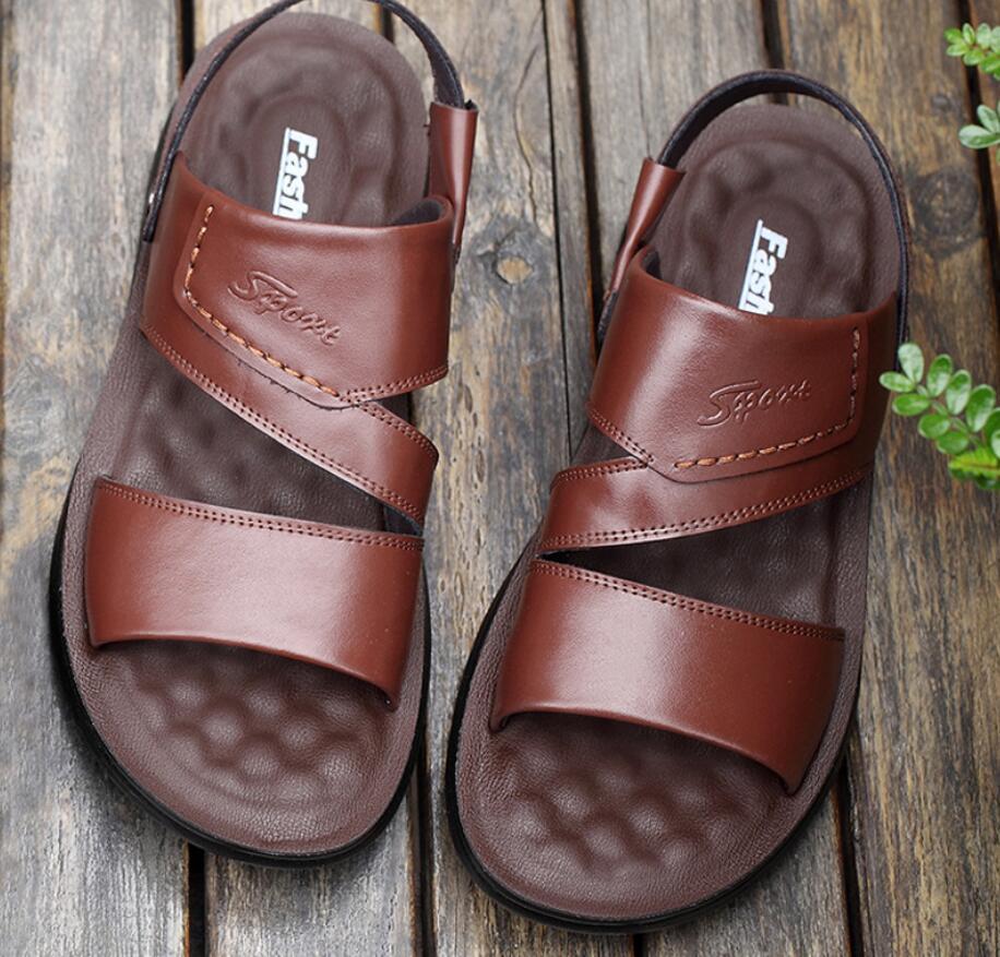 Men Sandals Genuine Split Leather Men Beach Shoes Brand Men Casual Shoes Men Slippers Sneakers Summer Shoes Flip Flops