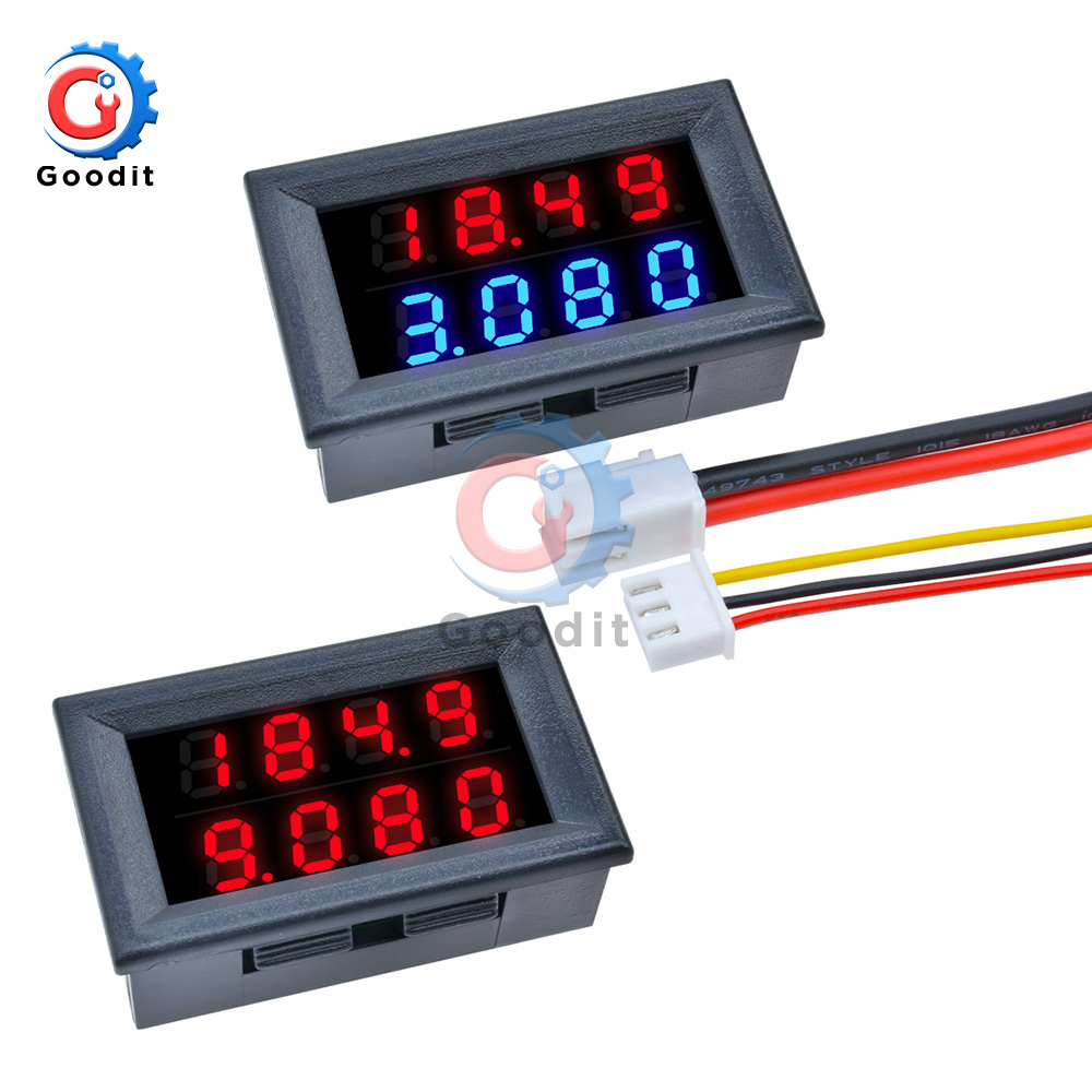 Digital DC Voltmeter Ammeter 4 Bit 5 Wires DC 100V 200V 10A Voltage Current Amp Panel Meter Power Supply LED Dual Display Meter