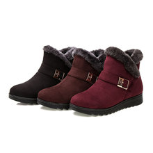 morazora plus size 34 43 new keep warm ankle snow boots round toe pu soft leather platform shoes woman sweet women winter boots Promotion 2019 Winter Women Snow Boots Plus Size 35-43 Ankle Fur Boots Buckle Strap Fashion Shoes Woman Plus Velvet To Keep Warm