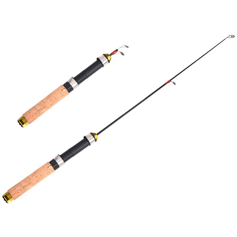 Retractable Fishing Rods Pocket Short Ice Fishing Rod 60cm Straight Handle Fishing Rod Winter Fishing Supplies