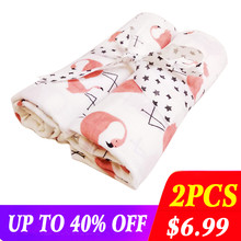 2pcs/set Newborn Baby Blanket 100% Cotton Blanket Cartoon Pattern Multi-use Infant Stroller Cover Towel Baby Muslin Swaddle Wrap(China)